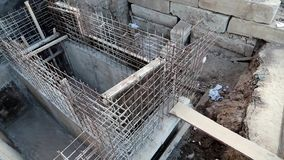 Building of foundation. Unfinished construction. Building of foundation stock video