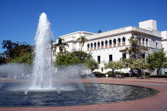 Building and Fountain. A building and water fountain in Balboa Park, San Diego Royalty Free Stock Photo
