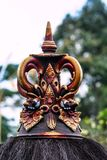 Building fragment in authentic style. Ancient architecture of Indonesia. Sights of Bali royalty free stock photography