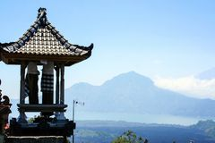 Building fragment in authentic style. Ancient architecture of Indonesia. Sights of Bali stock photo