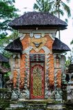 Building fragment in authentic style. Ancient architecture of Indonesia. Sights of Bali royalty free stock image