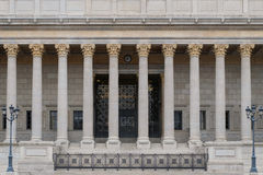 Building front of a public law court in Lyon, France, with a neoclassical colonnade corinthian columns Royalty Free Stock Images
