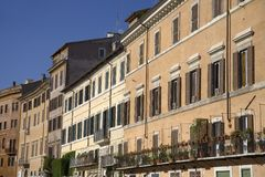 Building front showing many windows of Rome, Italy, Europe Royalty Free Stock Images