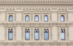 Building front wall with repeting pattern of windows. moscow, ru Stock Images
