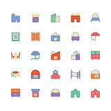 Building & Furniture Vector Icon 12. Take a trip back in time and decorate with this new Buildings and Furniture Pack You will love using the icon pack for your Royalty Free Stock Photos