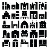 Building & Furniture Vector Icons 5 Stock Images