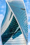 Building with futuristic twisted design. Moscow - Sep 10, 2017: Modern skyscraper in Moscow-City, Russia. Building with futuristic twisted design. Moscow-City is stock images