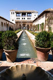 Building with garden and fountain. At the historic site of the Alhambra in spain Royalty Free Stock Photo