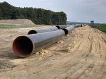 Building a gas pipeline between Russia and Western Europe. royalty free stock image