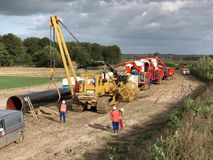Building a gas pipeline between Russia and Western Europe. royalty free stock photography