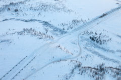 Building of gas pipeline in Siberia in winter, top view Stock Photos