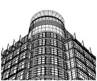 Building Glass Corner Entrance Circle and Quadrant Vector. Building Glass Corner Entrance Circle and Quadrant Isolated Vector Stock Images