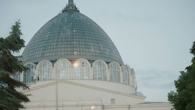 Building with a glass dome,the timelapse stock video