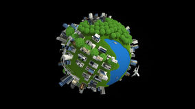 Building globe full. Globe with city building and different means of transport