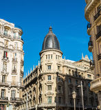 Building at the Gran Via street, Madrid, Spain. royalty free stock photos