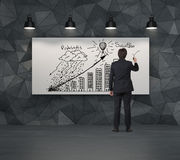 Building graph on placard Stock Images