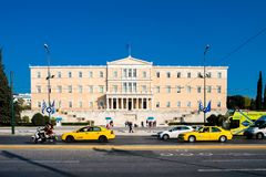 Building of the Greek parliament in Syntagma square in central Athens royalty free stock photos