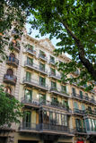Building with green windows, Barcelona (Spain) Royalty Free Stock Photography