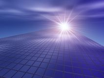 Building Grid Progress to the Light. A Progressive Light on a Business Building Grid Royalty Free Stock Images