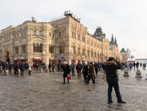The building of the GUM store on Red Square, and many people Stock Photos
