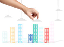 Building in a hand Royalty Free Stock Photography