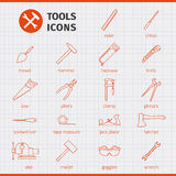 Building hand tools for working around the house and in the garden. stock illustration