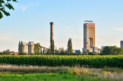 Building of hard coal mine. WOLA, POLAND - JULY 29, 2017: Building of hard coal mine Piast 2 in Wola, Poland Stock Image