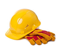 Building helmet and protective gloves Royalty Free Stock Photos