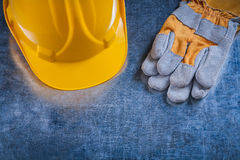 Building helmet and protective working gloves on Stock Image