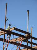 Building High. Steel beam constructon at high altitude Royalty Free Stock Photography