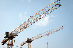 Building with high cranes Stock Photography