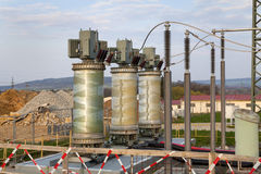 Building on a high-voltage substation Stock Photo