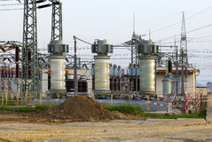 Building on a high-voltage substation Stock Images