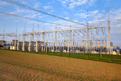 Building on a high-voltage substation Royalty Free Stock Image