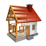 Building A Home. And house construction with the inside see through wood frame structure of a residence built by carpenters and workers as a renovation concept Royalty Free Stock Image