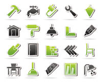 Building and home renovation icons Stock Images