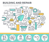 Building and home repair concept illustration. Royalty Free Stock Images