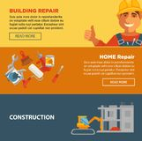 Building and home repair construction vector web banners set. Equipment Stock Images