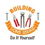 Building and home repair work tools emblem Stock Photos