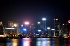 Building at Hongkong Victoria harbor in night, 2016. Night view and lightinging of Hongkong victoria harbor Royalty Free Stock Images