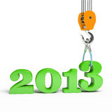 Building a hook puts the figure three. 3d illustration of New Year 2013 Royalty Free Stock Photos