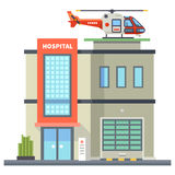 Building of hospital. Helicopter on roof. First aid Stock Image