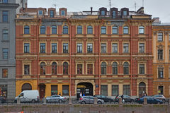 Building of hotel Russia of Sobolev on Moika River in Saint Petersburg, Russia Stock Images