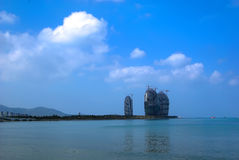 Building Hotel in Sanya Bay Royalty Free Stock Image