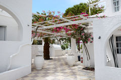 Building of hotel in traditional Greek style Royalty Free Stock Photo