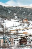 The building of hotels and chalets in the ski Alpine resort Royalty Free Stock Images