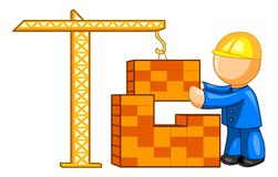 Building a house. Construction worker builds a house with the help of hoisting crane vector illustration