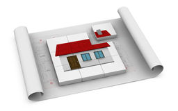 Building house. One house blueprint with several cubes that form a house. one of the cubes isn't in the right place, showing the concept of home in construction Stock Photos