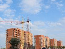 Building house. And crane in Klaipeda, Lithuania Royalty Free Stock Images