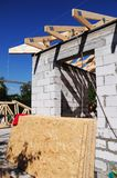Building House & Installing Roof Rafters. Roofing construction. Building House royalty free stock images